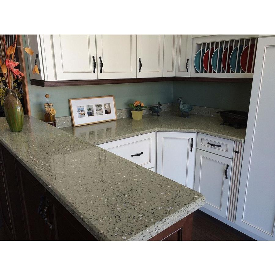 Curava Lemongrass Recycled Glass Kitchen Countertop Sample At