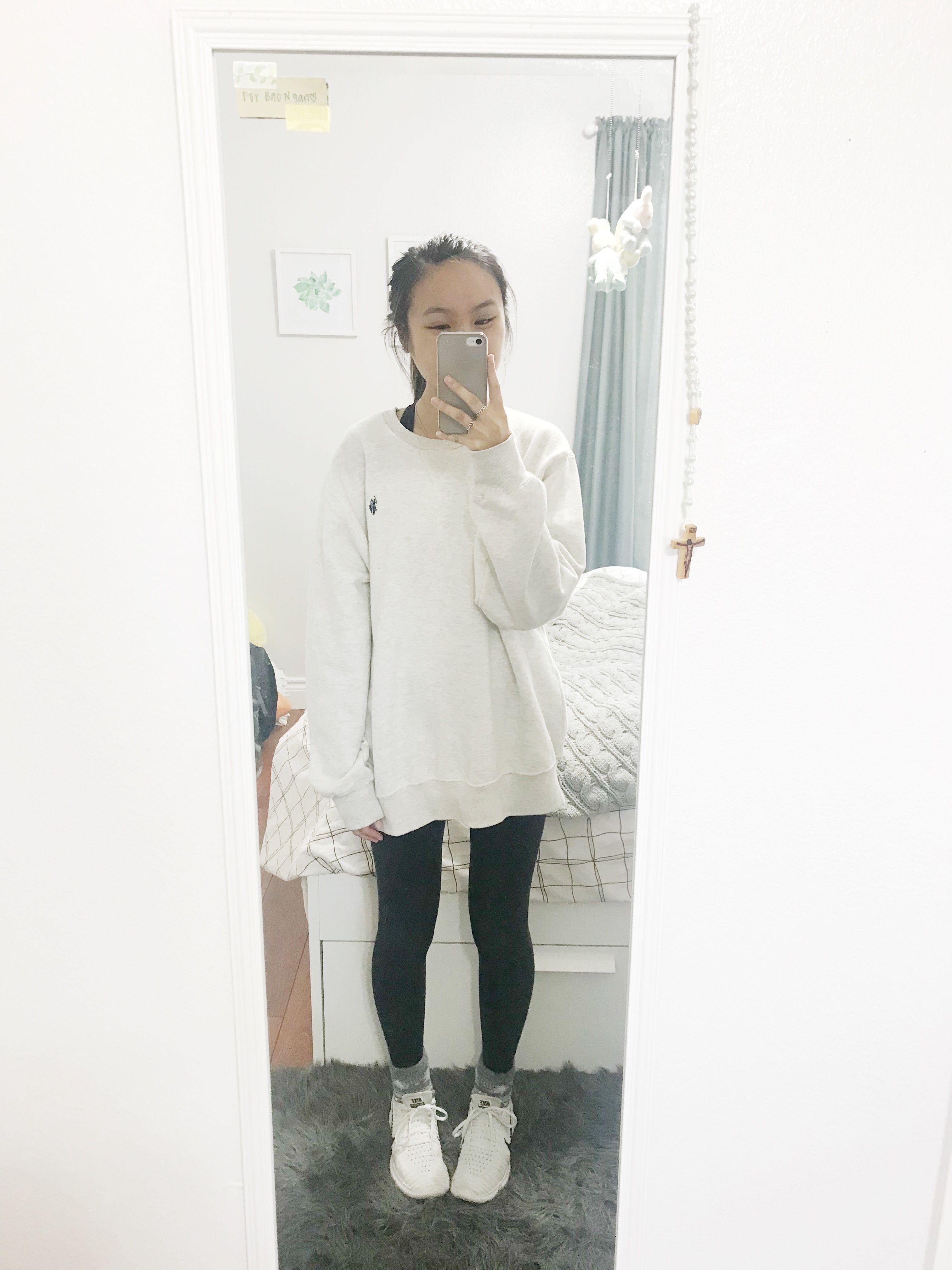 cream sweatshirt, leggings, fuzzy socks, white nikes