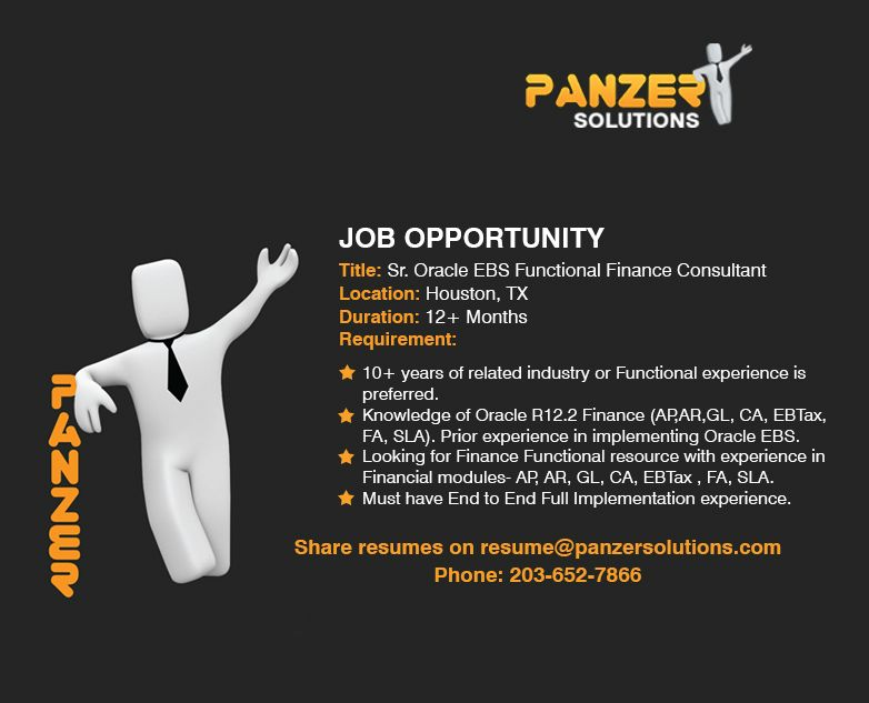 Job Title Sr Oracle Ebs Functional Finance Consultant Location