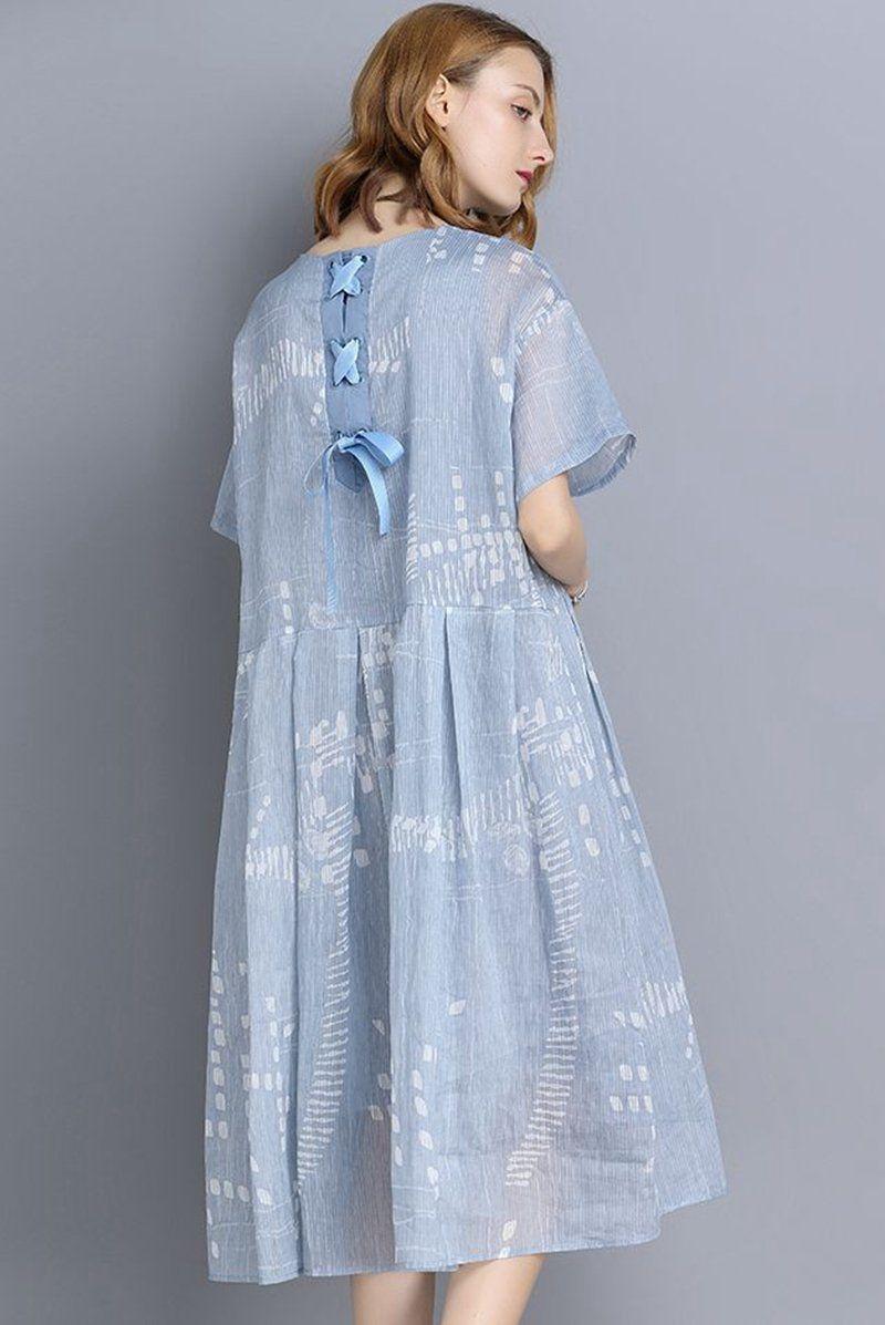 06f06188c131 FantasyLinen Blue Big Size Casual Loose Summer Dresses V9180