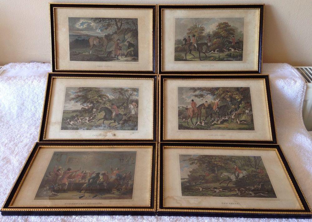 1817 ANTIQUE 6 ENGRAVED FOX HUNTING FRAMED PRINTS SHERWOOD NEELY ...