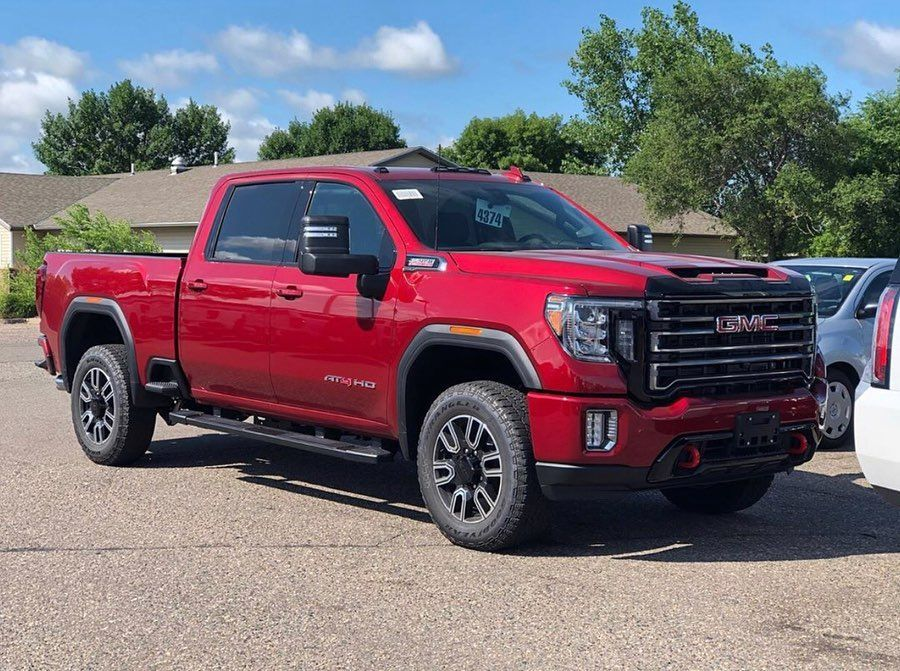 First 2020 Gmc Sierra Hd At4 That I Ve Seen In Red Quartz Metallic At Westmetroauto Follow U Gmc Trucks Gmc Gmc Sierra