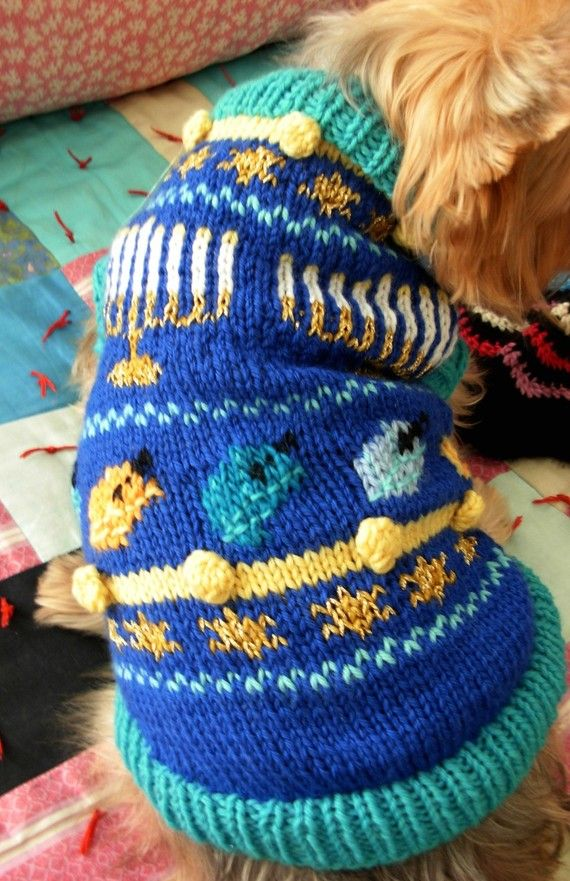 O HANUKKAH Hand Knitted DOG SWEATER Sample by mysavannahcottage ...