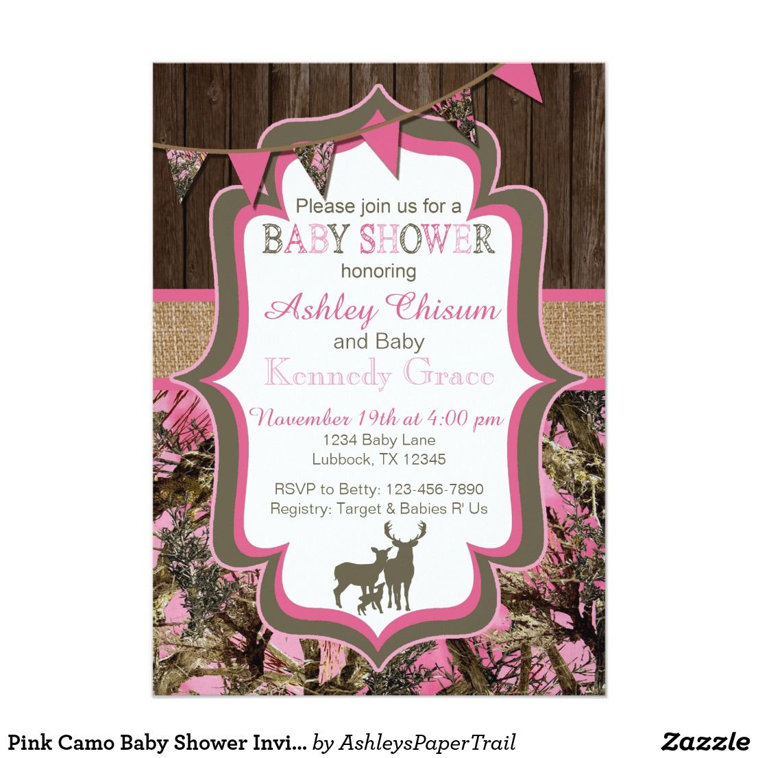 Pink Camo Baby Shower Invitation This adorable invitation is perfect ...