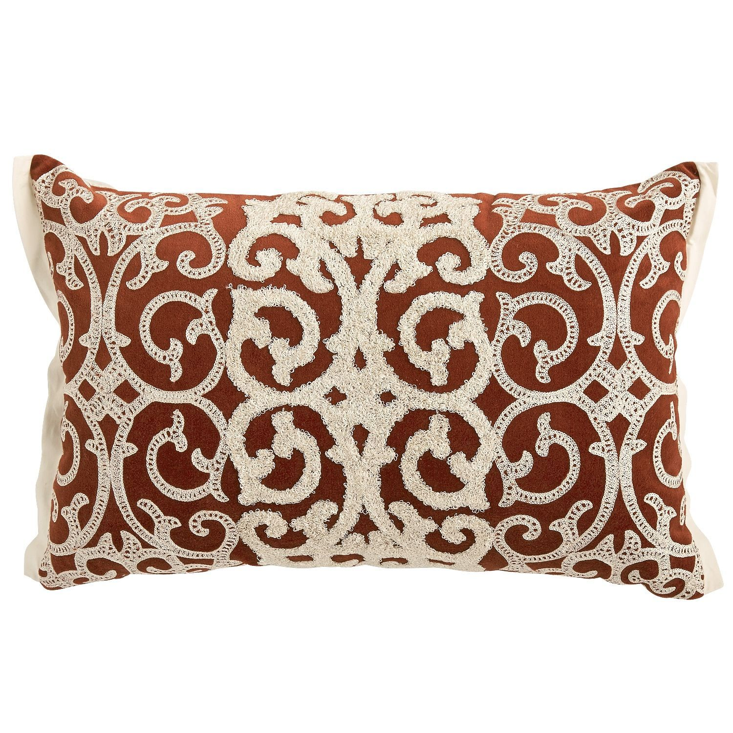 Velvet Scroll Lumbar Pillow - Rust | Pier 1 Imports | pillows and ...