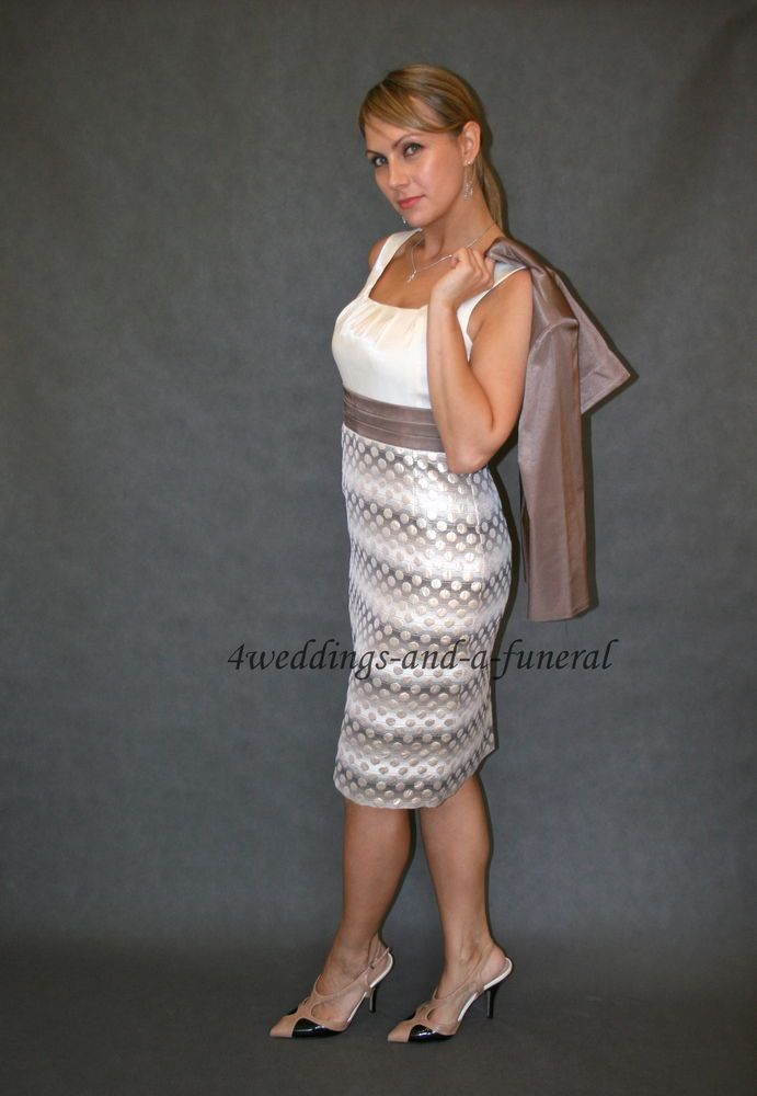 Mother Of The Bride 2 Piece Outfit Dress Jacket Cappuccino Ivory