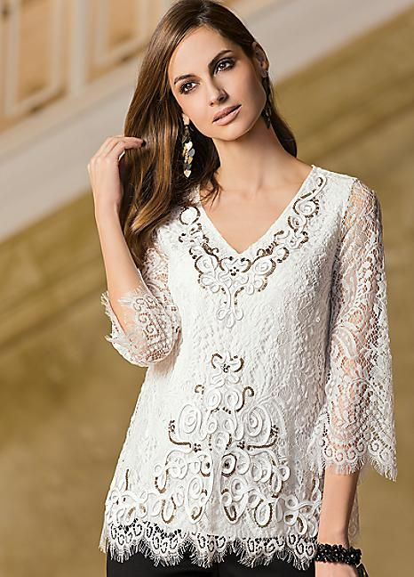 0b41e394821c60 Together Bead   Sequin Embellished Cornelli Lace Top