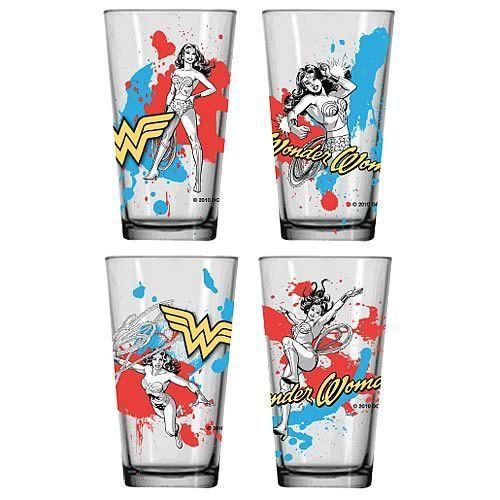Wonder Woman Glass Tumblers-#asianwomen #badasswomen #glass #olderwomen #tumblers #woman #womenback #womencrush #womenfrases #womenprofile #womensilhouette #womenstyle #womensuit #wonder #wonderwomen- Wonder Woman Glass Tumbler 4-Pack
