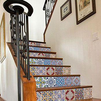 Tendance Carreaux Ciment | Carrelage Adhésif Pour Escalier Motif