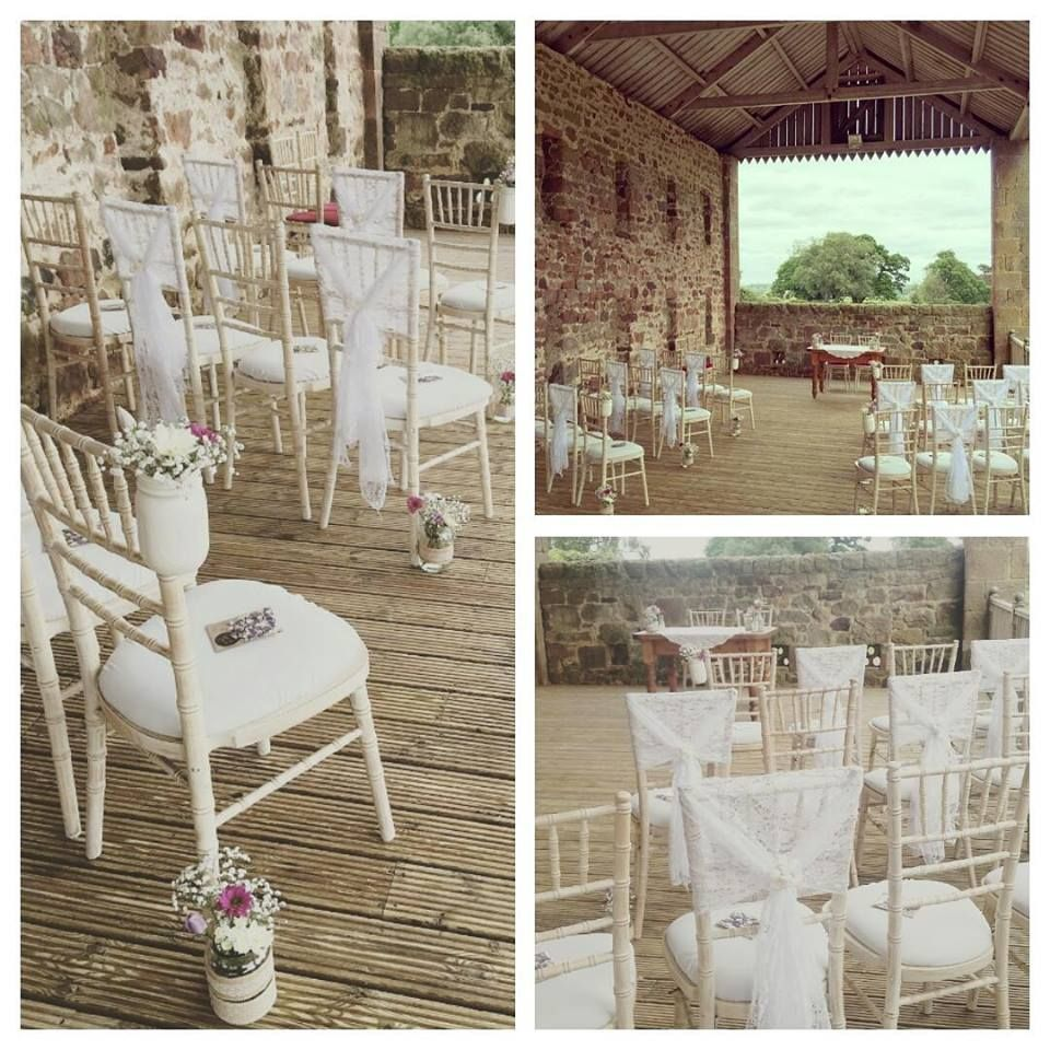 Mason jars and lace chair wedding sashes available for hire in northumberland and newcastle