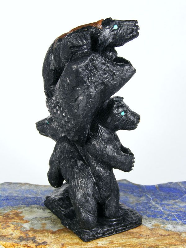 Herbert Him Picasso Marble - stack of bears with bright Turquoise eyes.  Bears represent strength, self-Knowledge.  Bear medicine teaches us to go within.
