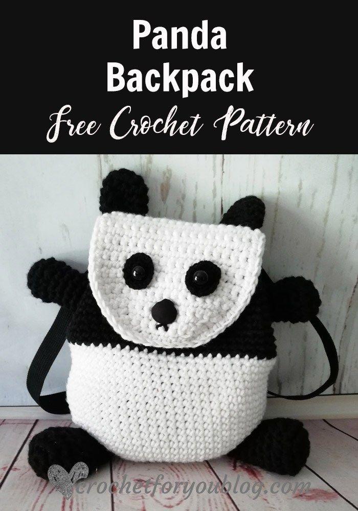 Crochet Panda Backpack Free Pattern   bolsas   Pinterest   Croché ...