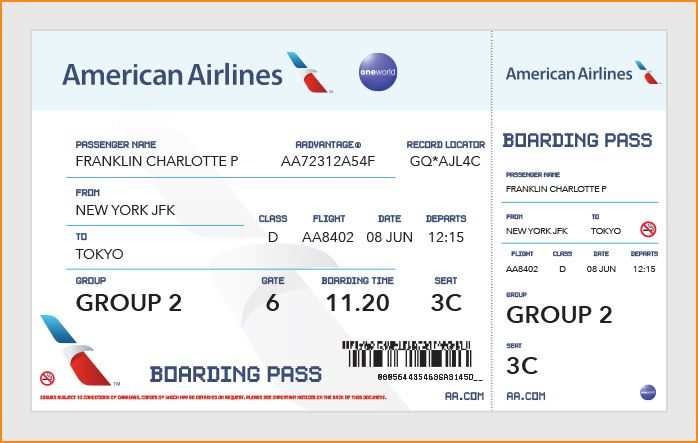 Best Airline Ticket Template Example for Boarding Pass with