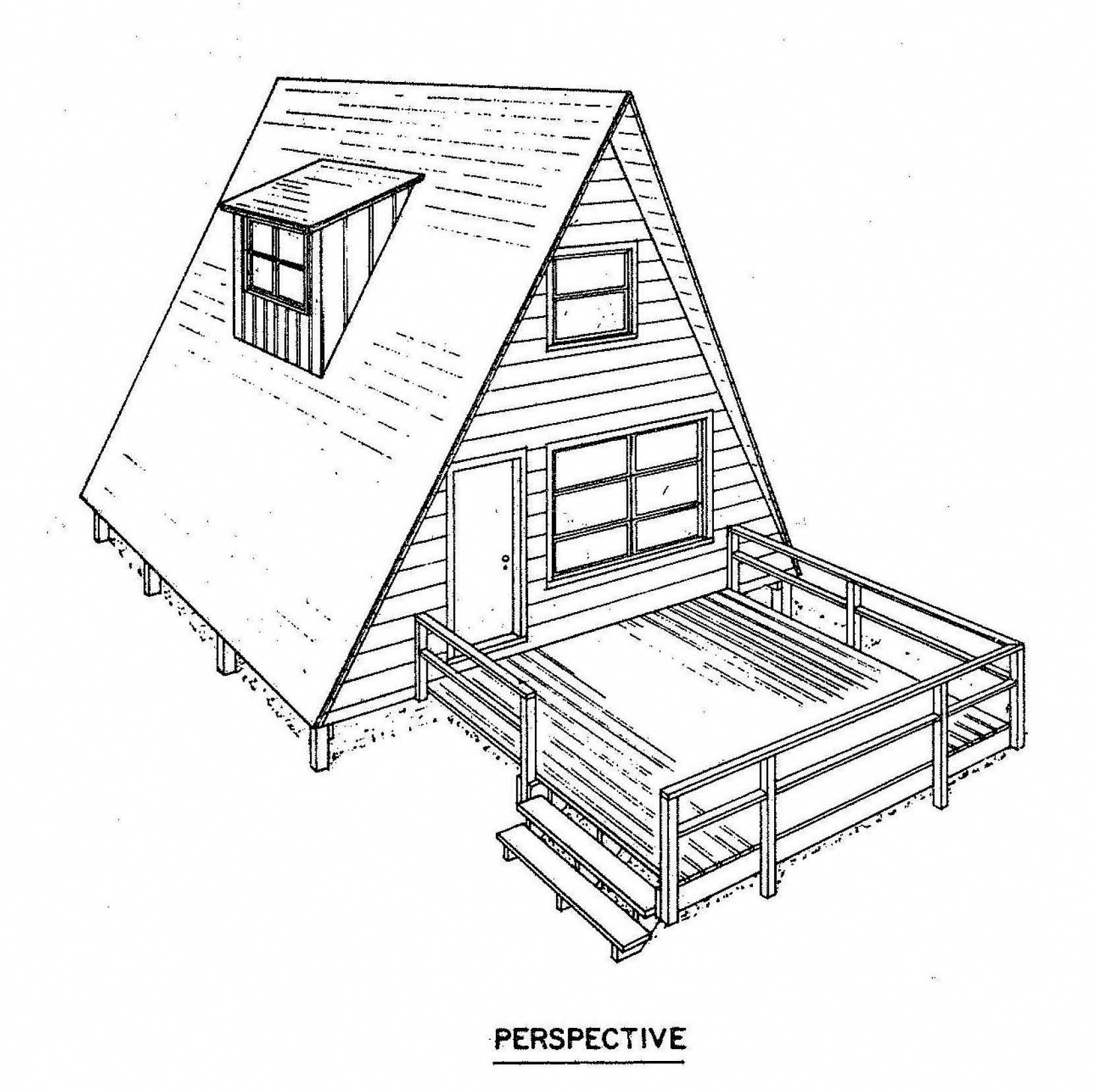 A Frame House Plan Perspective A Framecabin A Frame House Plans A Frame Cabin Plans A Frame House