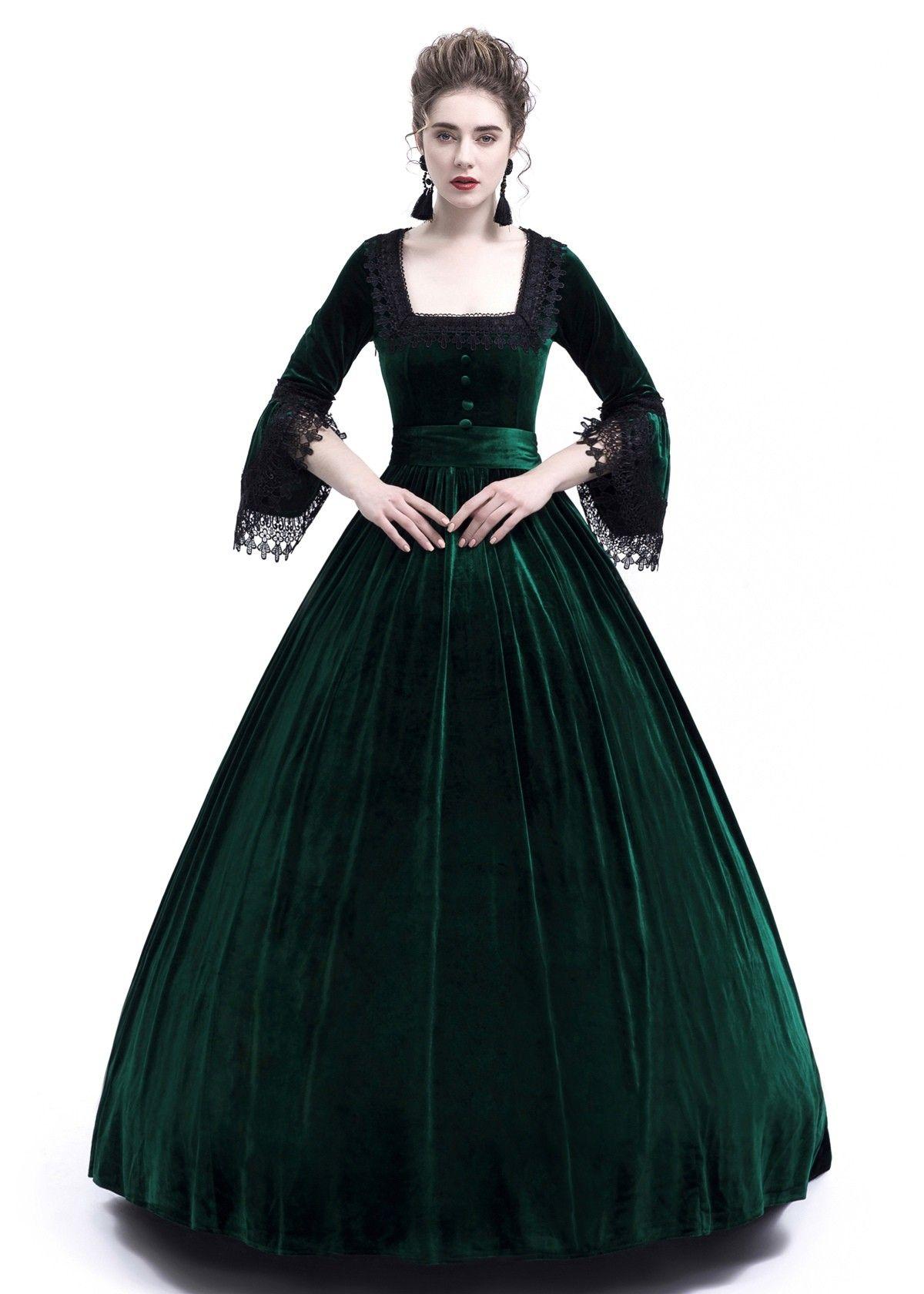 Green Velvet Ball Gown Victorian Gown D3009 D Roseblooming Victorian Gown Ball Dresses Velvet Ball Gown [ 1680 x 1200 Pixel ]