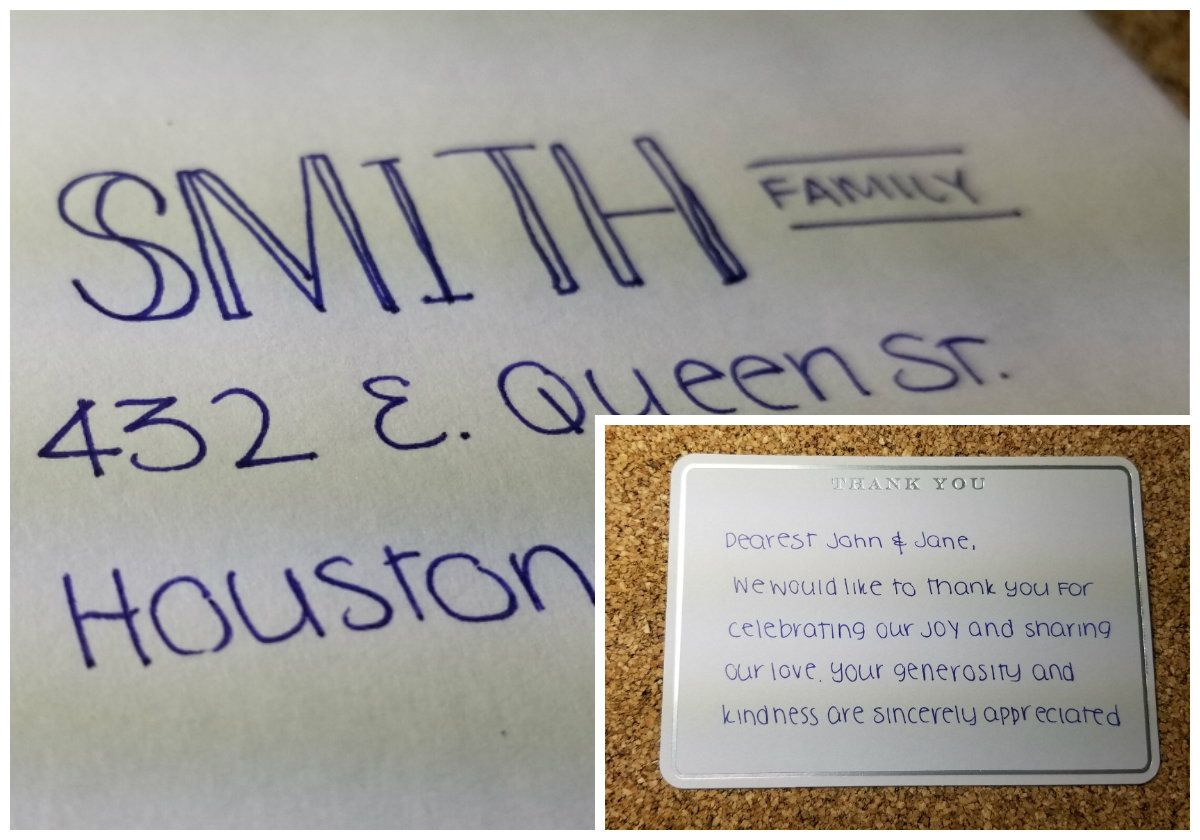 handwritten thank you cards  hand addressed envelopes