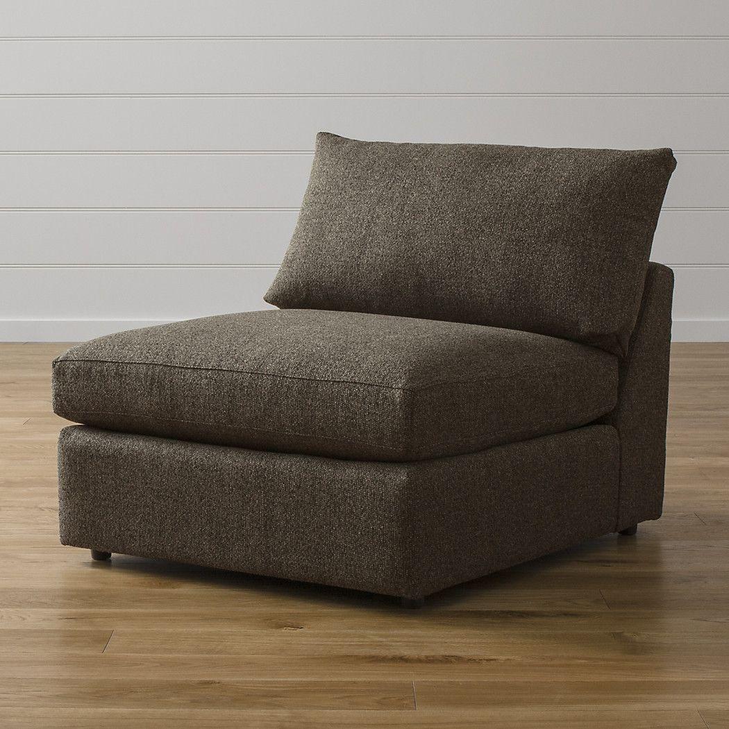 "Lounge II Armless 37"" Chair Armless chair, Crate barrel"