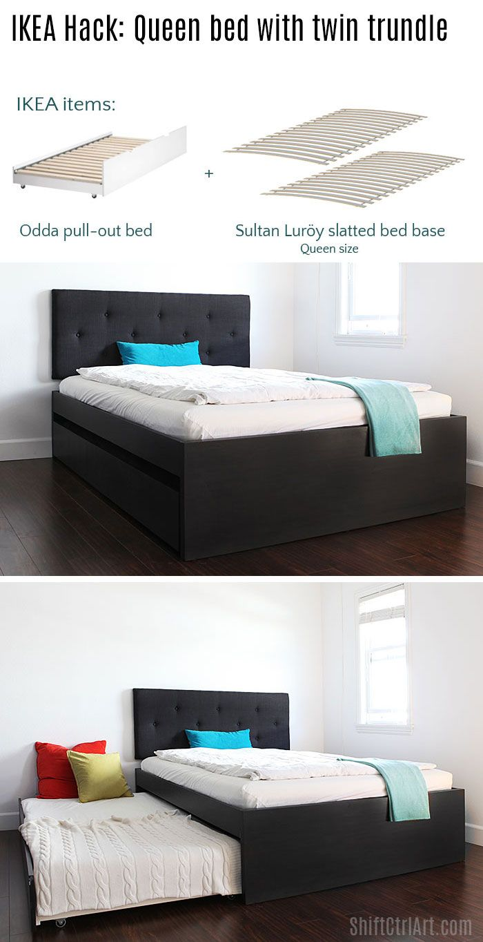 How to: build a queen bed with twin trundle - IKEA hack | Pinterest ...