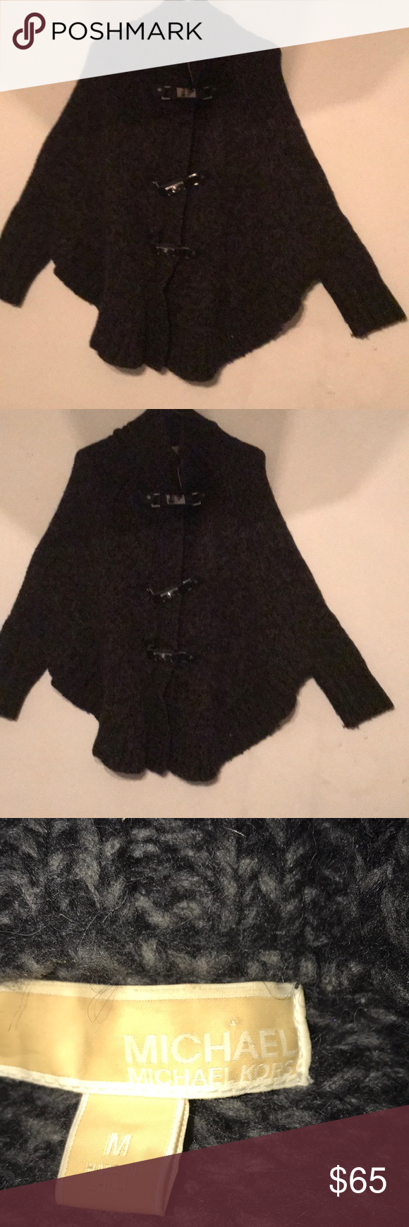 Michael Kors Gray Waffle Knit Toggle Poncho M/L Michael Kors Rare Find Women's Gray Waffle Knit Toggle Poncho fits a M/L Zippers up and Has Steel Buckled Hardware. Great winter sweater that pairs well with jeans and boots. Michael Kors Sweaters Shrugs & Ponchos