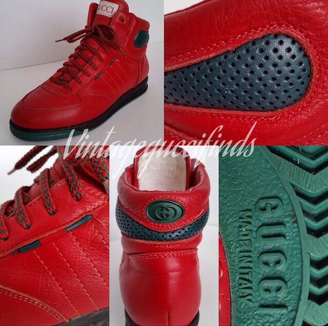 09393cd5f7af93 Rare vintage gucci red high top sneakers from the early 90's ...