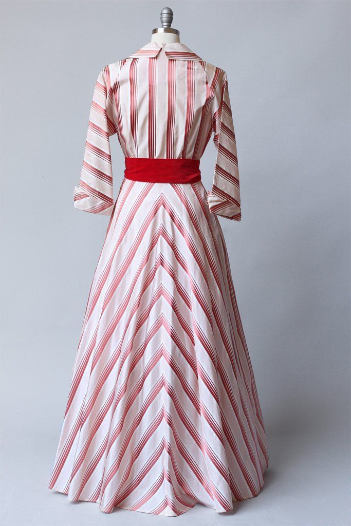 Rare 1950s New Look Striped Taffeta House Coat Dress – The Vintage Net