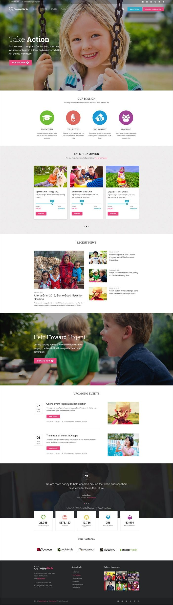 HappyCharityis The Best Multipurpose #Nonprofit Photoshop #Template,  Perfect Fit For #webmaster Charity  Ngo Templates
