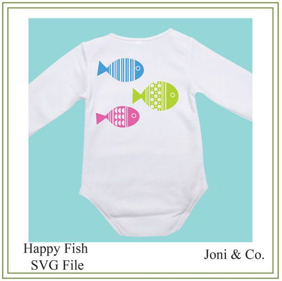 Fish SVG, Happy fish SVG, vinyl cutting, children iron on transfer, greeting cards craft supply, SVG, party invitation  This design looks really cute printed on Childrens tee shirts and onsies.  The images show design on a glass block and as an iron on transfer for children. The file is black and white. You can color the design with your favorite colors for printing.  As it is a digital file. No physical product will be sent. Just download and have fun.  WHAT YOU WILL RECEIVE  An SVG file…