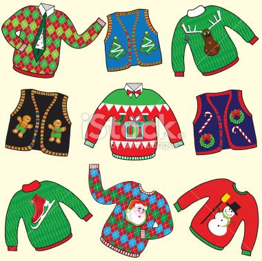 Christmas Sweater Clipart.Dare To Wear Ugly Christmas Sweaters Clipart Great For Your