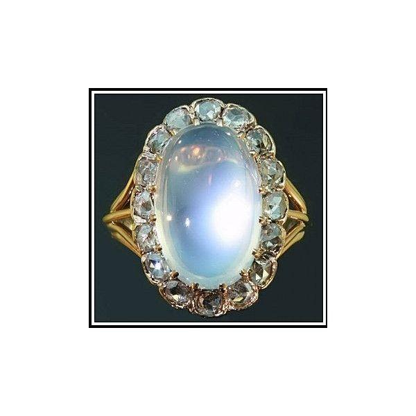 Antique Victorian Moonstone Ring Diamonds 18K Gold c.1890