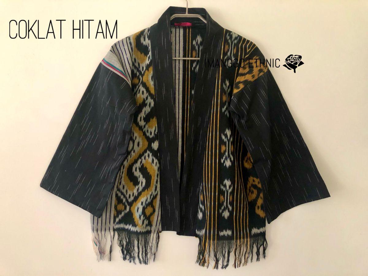 Outer Tenun Troso Mix Lurik Model Baju Wanita Kimono Wanita