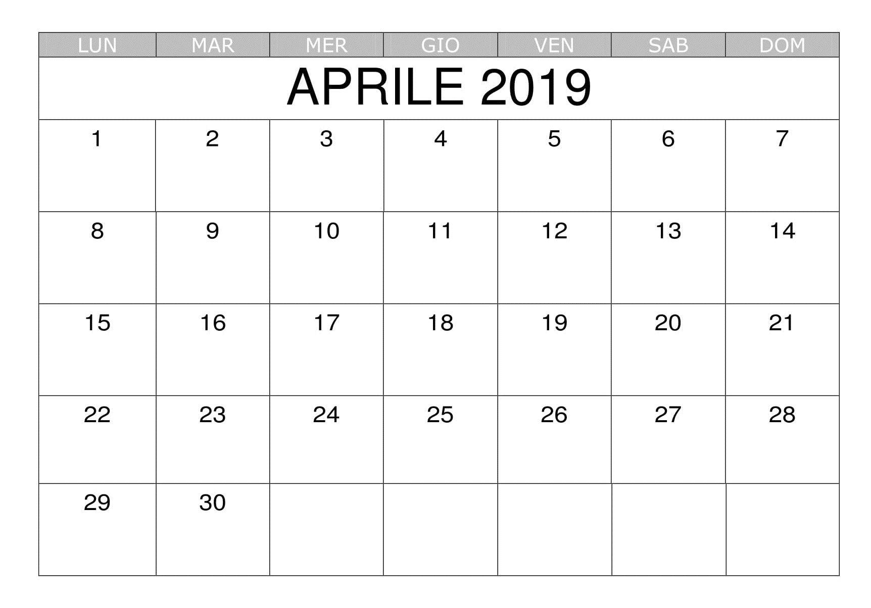 Modello Calendario Word.Calendario 2019 Word Aprile Calendario Aprile 2019 Da