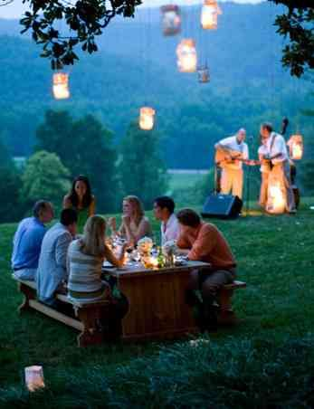 """Blackberry Farms' style dinner """"on the grounds."""" Hire a local bluegrass trio...mason jars with tea lights...duck or trout on the menu."""