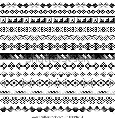 bffd08a741a8b Border decoration elements patterns in black and white colors. Most popular ethnic  border in one mega pack set collections. Vector illustrations.