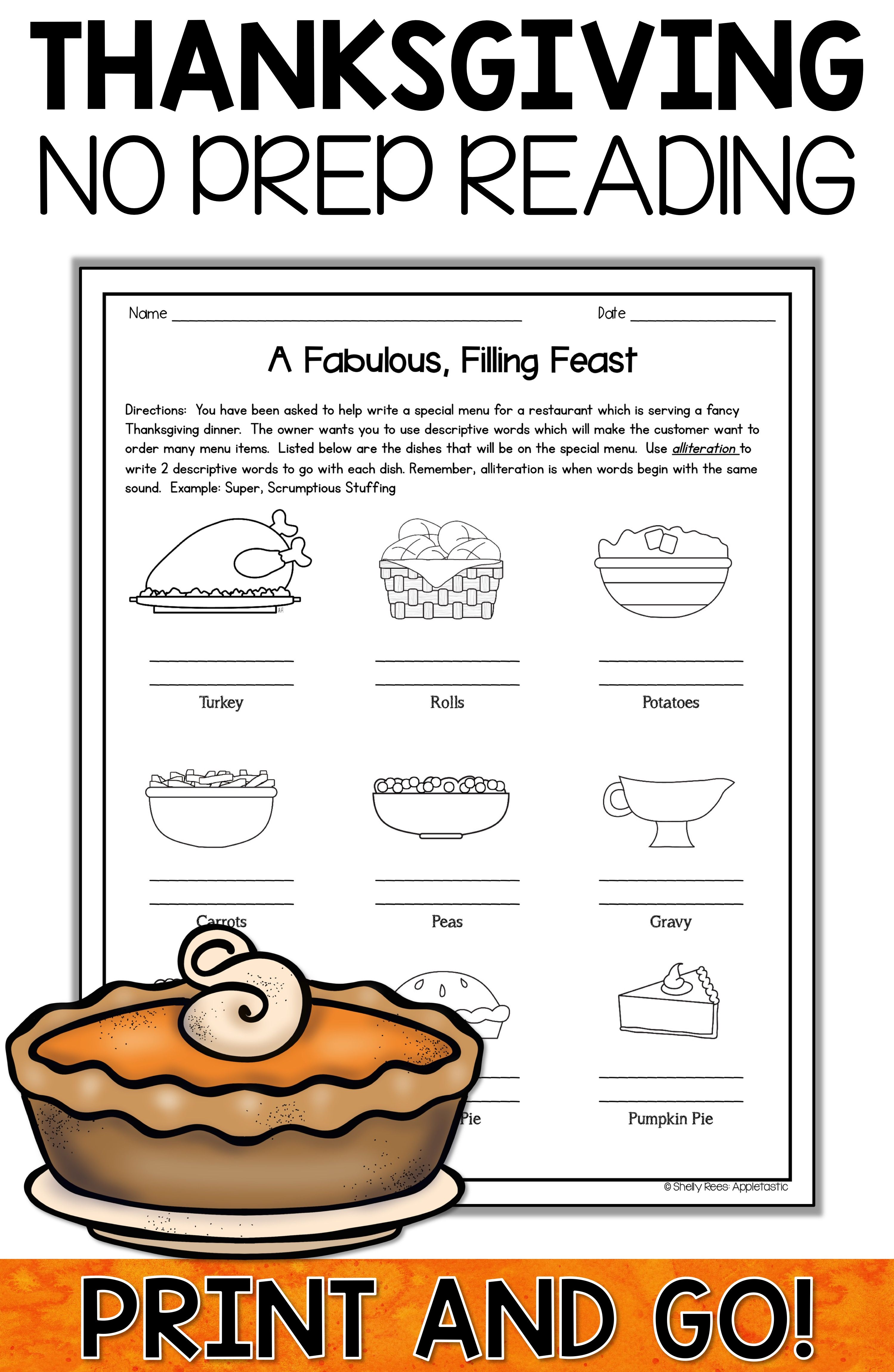 Thanksgiving Reading Worksheet Elementary