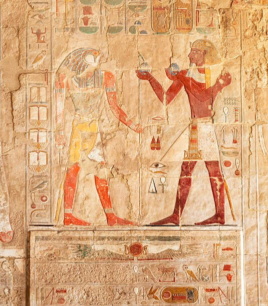 Hieroglyphs on an Egyptian funerary stela of Hatshepsut Temple ...