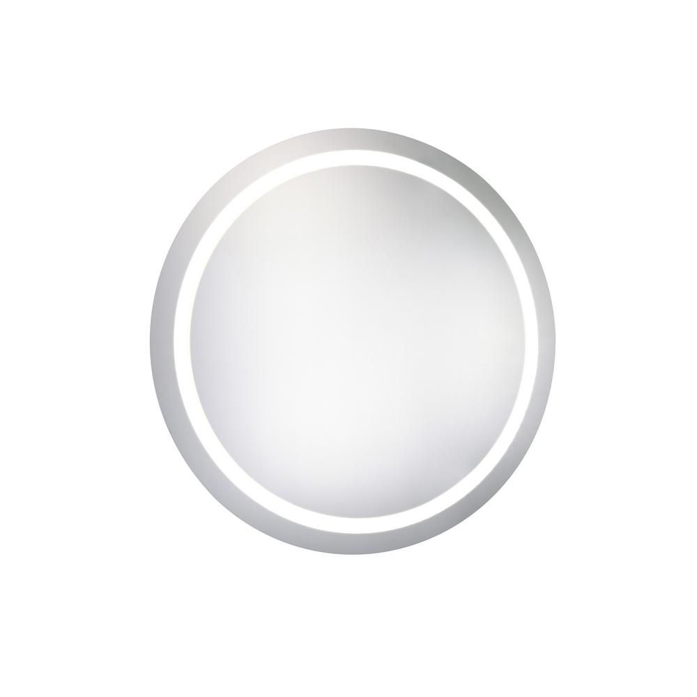 Elegant Furniture Klein 30 In X 30 In Led Wall Mirror With Round Steel Frame Color Temperature 5000k In Glossy White Electric Mirror Led Mirror Mirror