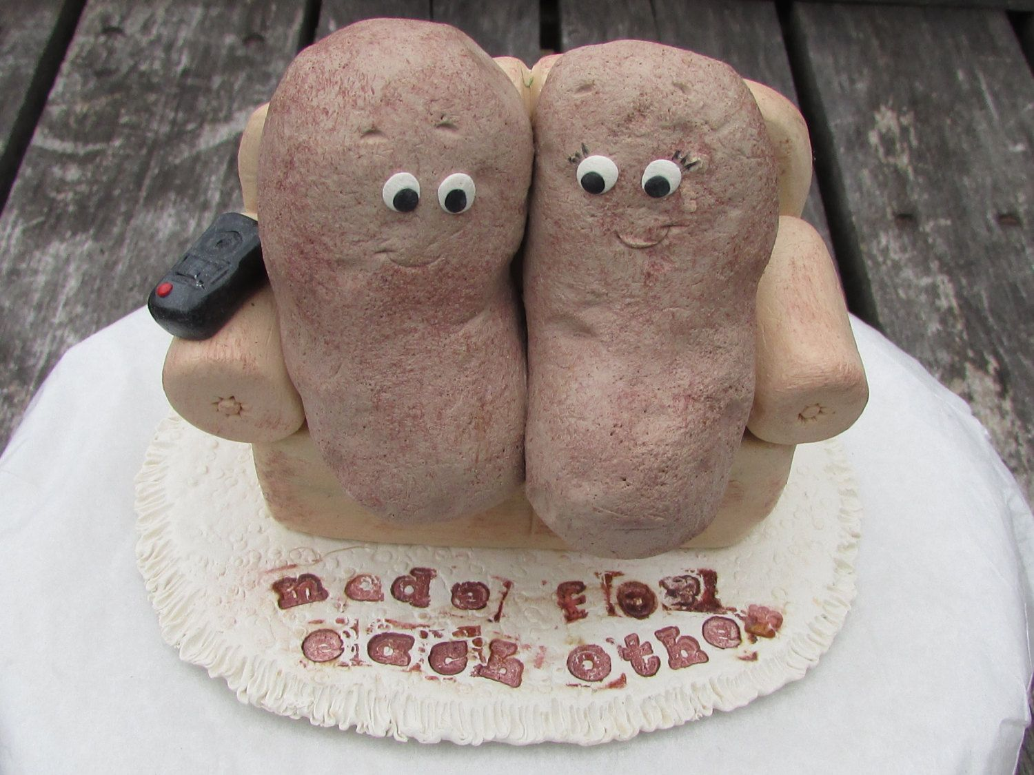 Couch Potato Wedding Cake Topper Unique Wedding Cake Topper Couch Potatoes Made For Each Other C Wedding Cake Toppers Unique Wedding Cake Toppers Food Humor