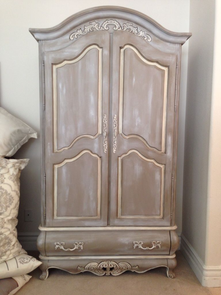 Beautiful armoire done by holly chalkpainted in a coco color with a