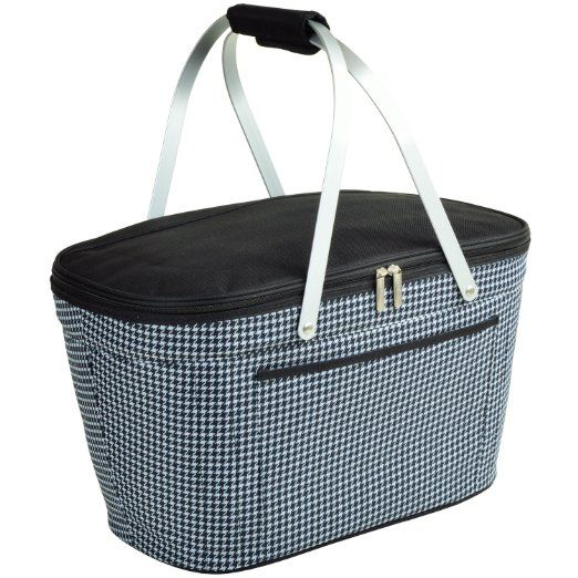 Picnic at Ascot Houndstooth Collapsible Cooler Basket. Convenient and light weight with a classic pattern and design, this picnic basket will keep your food cool on the go.