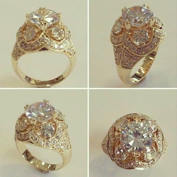 Custom 14k yellow gold crown ring design, set with round brilliant cut diamonds.