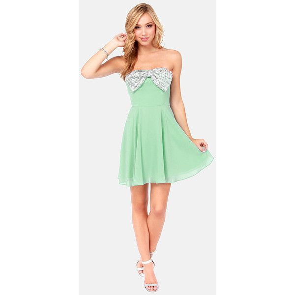 Bow And Steady Strapless Mint Green Sequin Dress 87 Liked On Polyvore Featuring Dresses