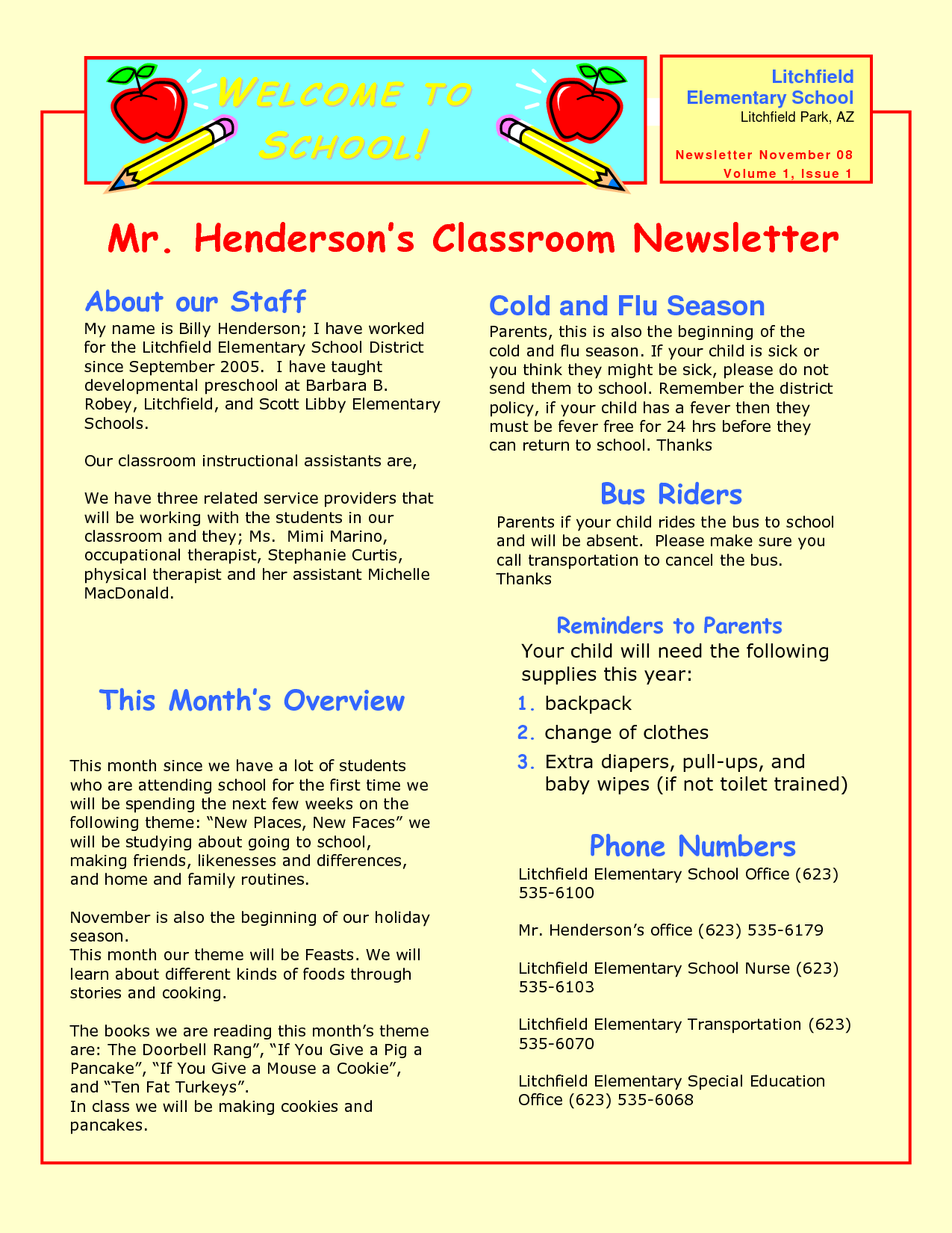 Preschool Newsletter Samples Preschool Newsletters
