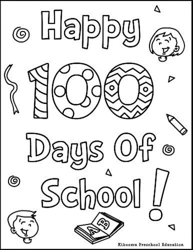 - 100th Day Of School Coloring Pages Kingergarten Pinterest
