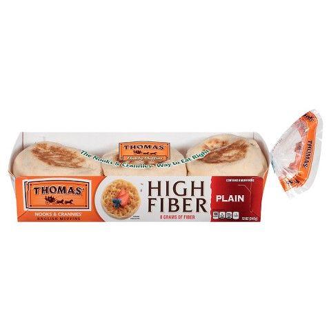 Thomas Plain High Fiber English Muffin 12 Oz 6 Count Low Iodine Diet High Fiber English Muffin