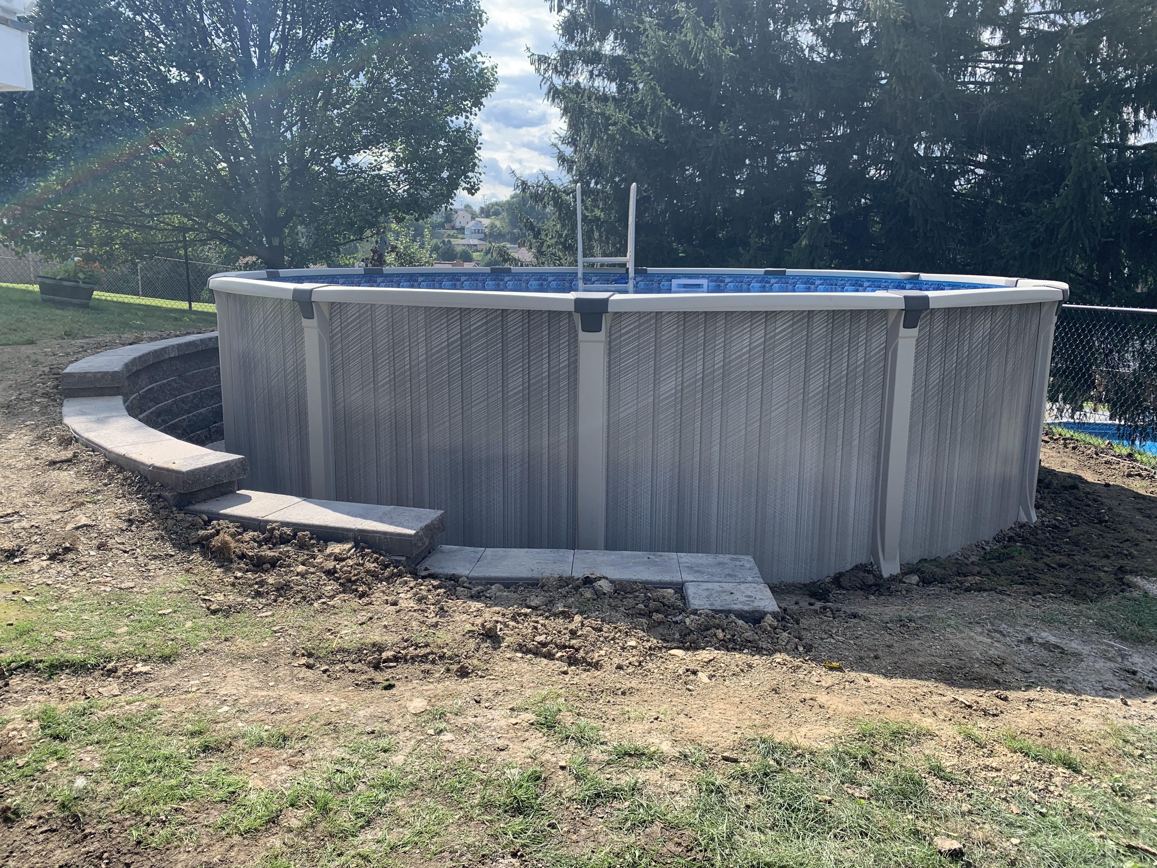 Retaining Wall Around Pool Above Ground Pool Landscaping Backyard Pool Landscaping Oval Pool