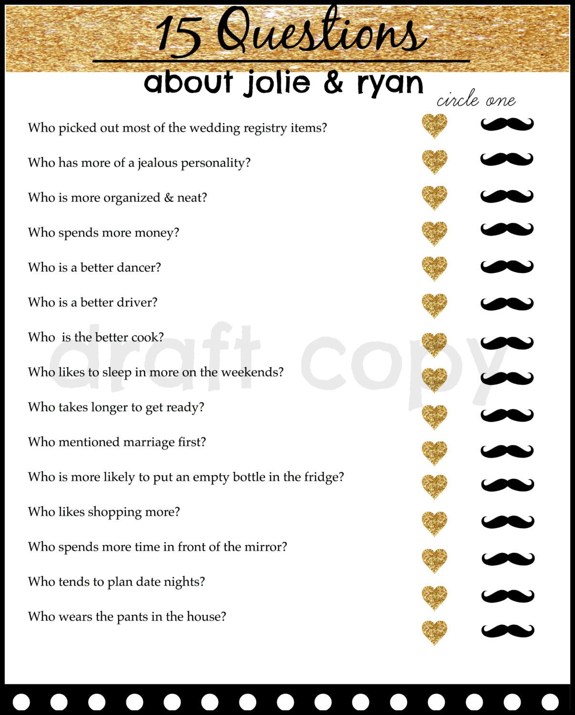 Bride & Groom Trivia Wedding Shower Game by