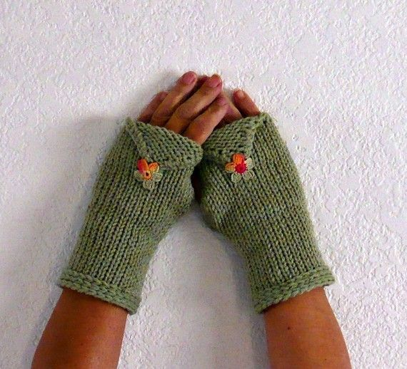 Knit Hand Warmers Sage Green Texting Gloves Fall Fashion Gloves ...