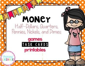 Money task cards, games, and printables to use during math lessons, math stations, and assessments.