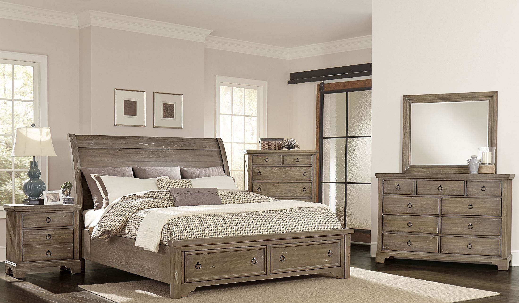 whiskey barrel rustic gray sleigh storage bedroom set bedroomsets