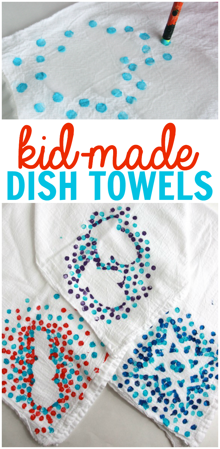 fun family craft ideas kid made dish towels and winter ideas from 4530
